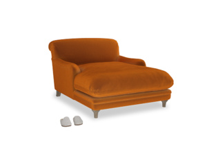Pudding Love seat chaise in Spiced Orange clever velvet