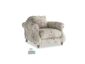 Sloucher Armchair in Pink vintage rose