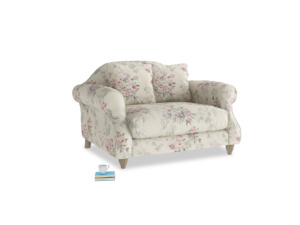 Sloucher Love seat in Pink vintage rose