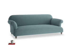 Large Soufflé Sofa in Marine washed cotton linen