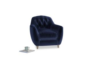 Butterbump Armchair in Midnight plush velvet