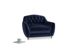 Love Seat Butterbump Love Seat in Midnight plush velvet