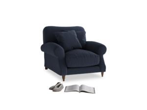 Crumpet Armchair in Indigo vintage linen
