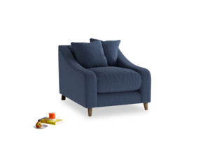 Oscar Armchair in Navy blue brushed cotton