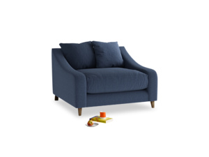 Oscar Love seat in Navy blue brushed cotton
