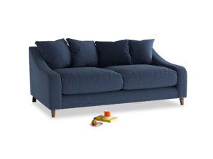 Medium Oscar Sofa in Navy blue brushed cotton