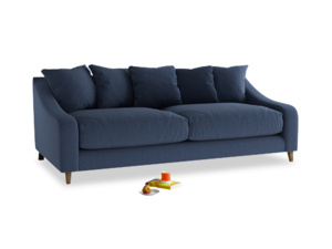 Large Oscar Sofa in Navy blue brushed cotton
