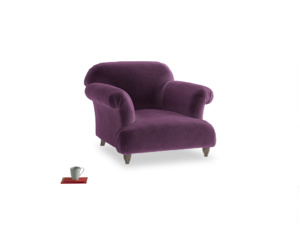 Soufflé Armchair in Grape clever velvet
