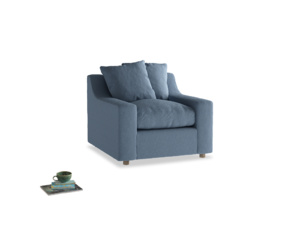 Cloud Armchair in Nordic blue brushed cotton