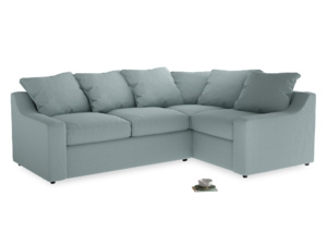 Large Right Hand Cloud Corner Sofa in Smoke blue brushed cotton