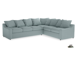 Xl Right Hand Cloud Corner Sofa in Smoke blue brushed cotton