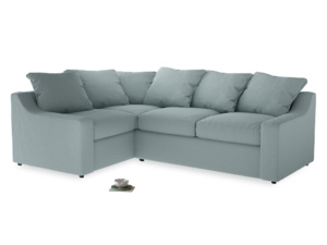 Large Left Hand Cloud Corner Sofa in Smoke blue brushed cotton