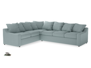 Xl Left Hand Cloud Corner Sofa in Smoke blue brushed cotton