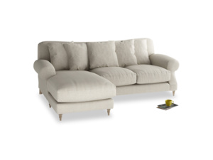 Large left hand Crumpet Chaise Sofa in Thatch house fabric