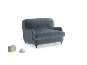 Jonesy Love seat in Mermaid plush velvet