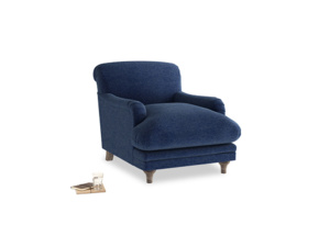 Pudding Armchair in Ink Blue wool