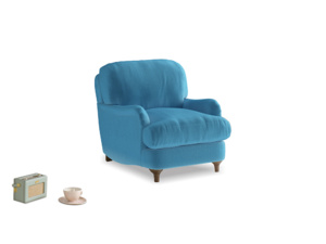 Jonesy Armchair in Teal Blue plush velvet