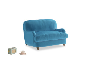 Jonesy Love seat in Teal Blue plush velvet
