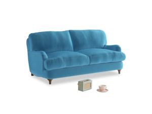 Small Jonesy Sofa in Teal Blue plush velvet