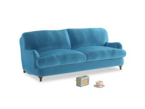 Medium Jonesy Sofa in Teal Blue plush velvet