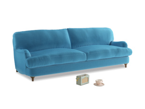 Large Jonesy Sofa in Teal Blue plush velvet