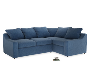 Large Right Hand Cloud Corner Sofa in Hague Blue cotton mix