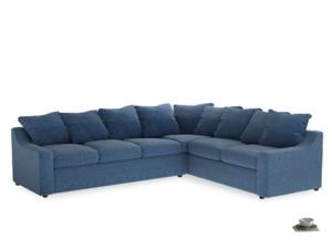 Xl Right Hand Cloud Corner Sofa in Hague Blue cotton mix