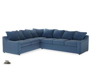 Xl Left Hand Cloud Corner Sofa in Hague Blue cotton mix