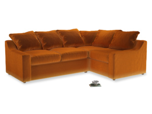 Large Right Hand Cloud Corner Sofa in Spiced Orange clever velvet