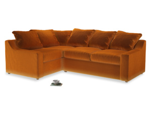 Large Left Hand Cloud Corner Sofa in Spiced Orange clever velvet