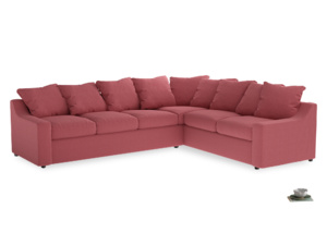 Xl Right Hand Cloud Corner Sofa in Raspberry brushed cotton