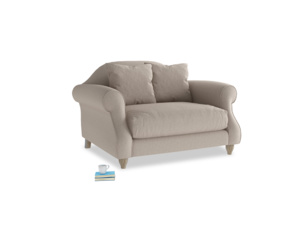 Sloucher Love seat in Driftwood brushed cotton