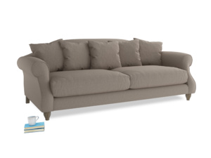 Large Sloucher Sofa in Driftwood brushed cotton