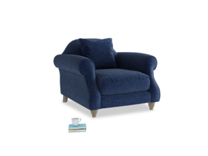 Sloucher Armchair in Ink Blue wool
