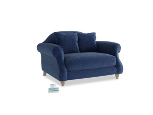 Sloucher Love seat in Ink Blue wool