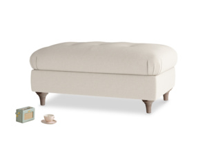 Rectangle Jammy Dodger Footstool in Buff brushed cotton