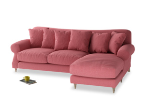 XL Right Hand  Crumpet Chaise Sofa in Raspberry brushed cotton
