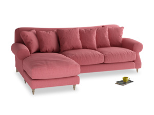 XL Left Hand  Crumpet Chaise Sofa in Raspberry brushed cotton