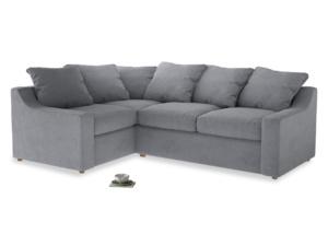 Large left hand Cloud Corner Sofa Bed in Dove grey wool