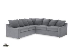 XL Left Hand Cloud Corner Sofa Bed in Dove grey wool