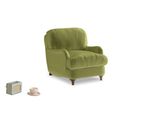 Jonesy Armchair in Olive plush velvet