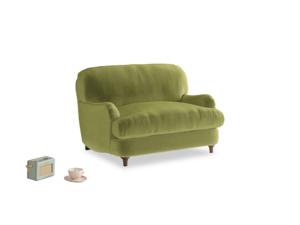 Jonesy Love seat in Olive plush velvet