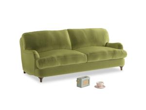 Medium Jonesy Sofa in Olive plush velvet