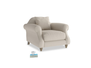 Sloucher Armchair in Buff brushed cotton