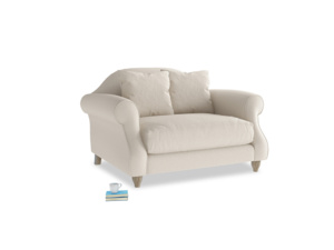 Sloucher Love seat in Buff brushed cotton