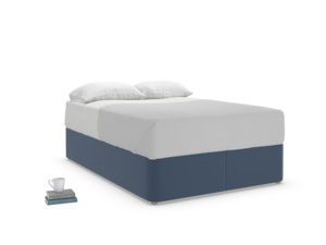 Double Store Storage Bed in Navy blue brushed cotton