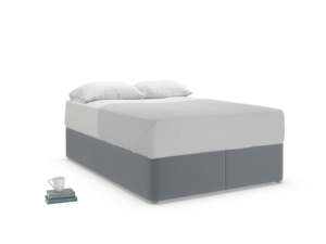 Double Store Storage Bed in Blue Storm washed cotton linen