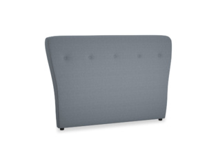 Double Smoke Headboard in Blue Storm washed cotton linen