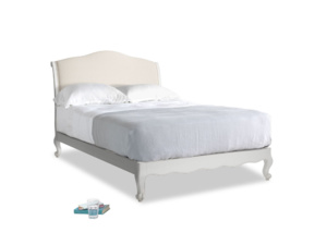 Double Coco Bed in Scuffed Grey in Buff brushed cotton