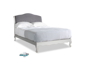 Double Coco Bed in Scuffed Grey in Lead cotton mix